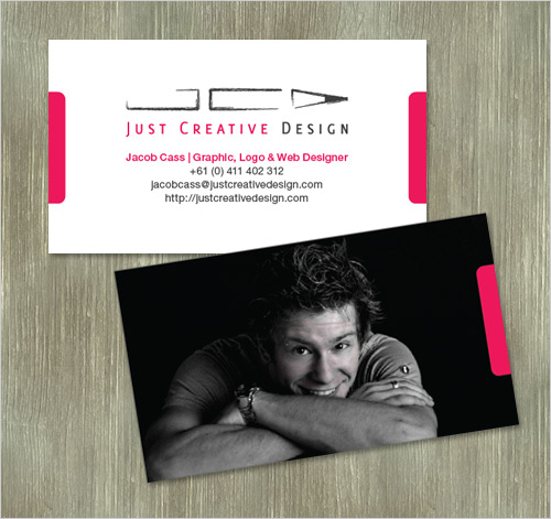 business card design with photo